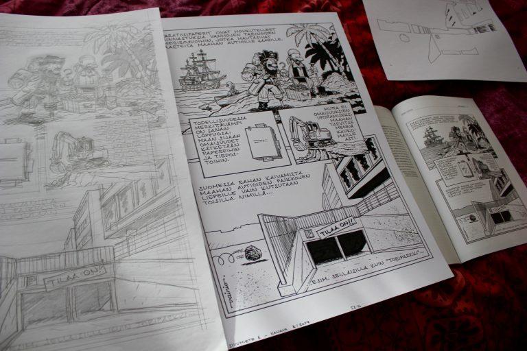 """Karikatyyripiirtäjä Jyrki Vainio: """"Täytyy kirjoittaa idea, ennen kuin voi piirtää sen."""" L I L O U ' s #lilous lifestyleblog, @KPohjanvirta sarjakuva karikatyyri bandedessinée Turun Sanomat Ilta-Sanomat @JyrkiVainio"""